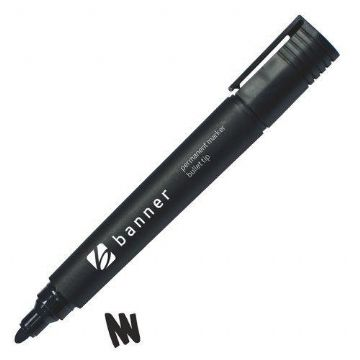 Permanent Marker Pen 2.3mm Bullet Tip - Black<br>Pack of10